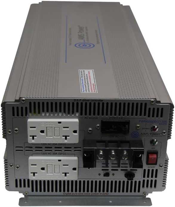 AIMS Power PWRIG500024120S 5000W 24V Pure Sine Power Inverter Industrial