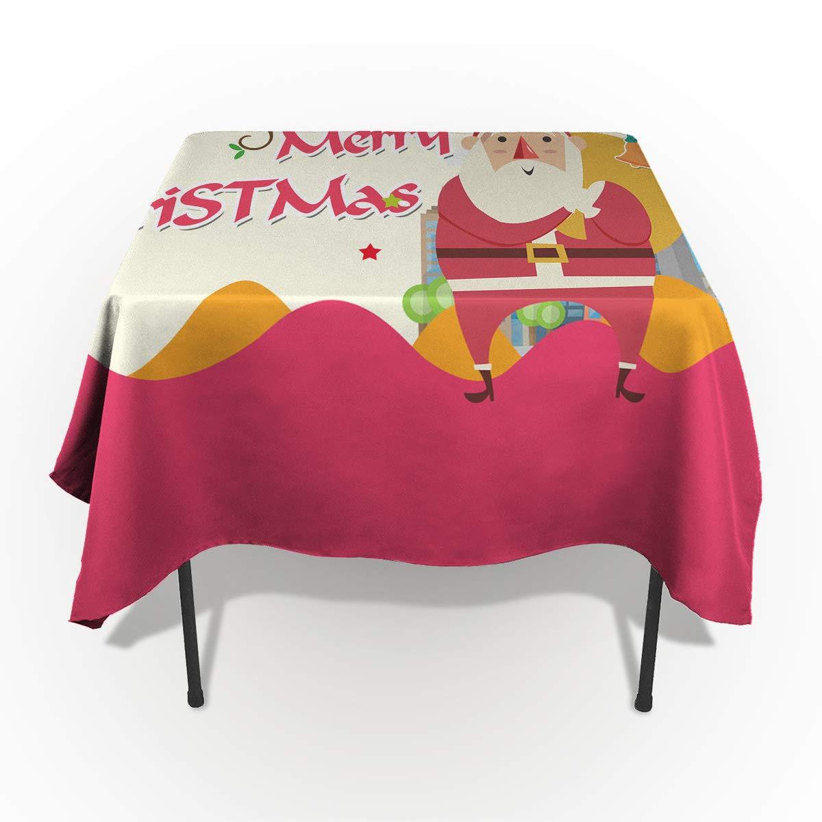 Fantasy Star 長方形ポリエステルテーブルクロス クリスマステーマ 装飾 鹿のギフト 家 テーブルクロス 洗濯機洗い可 テーブルカバー 装飾テーブルクロス キッチン ダイニングパーティー 60