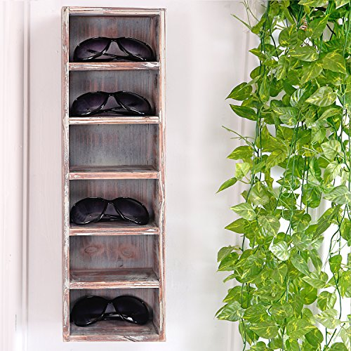 6 Slot Rustic Wooden Wall Mounted Vertical Storage