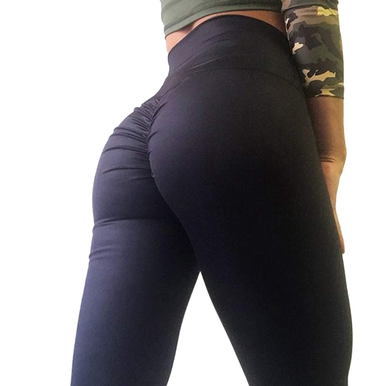 CROSS1946 Women's High Waist Back Ruched Legging Butt Lift Yoga Pants Hip Push up Workout Stretch Capris S by CROSS1946 (Image #1)