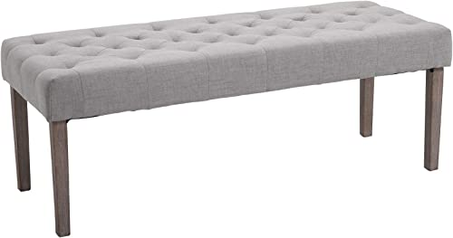 HOMCOM Simple Tufted Upholstered Ottoman Accent Bench