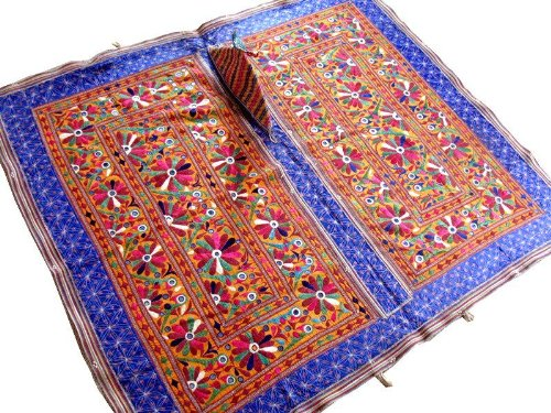 Multicolor Hand Embroidered Mirror Kutch Wall Hanging Huge Indian Tapestry Textile - 60 Inch X 55 Inch by NovaHaat