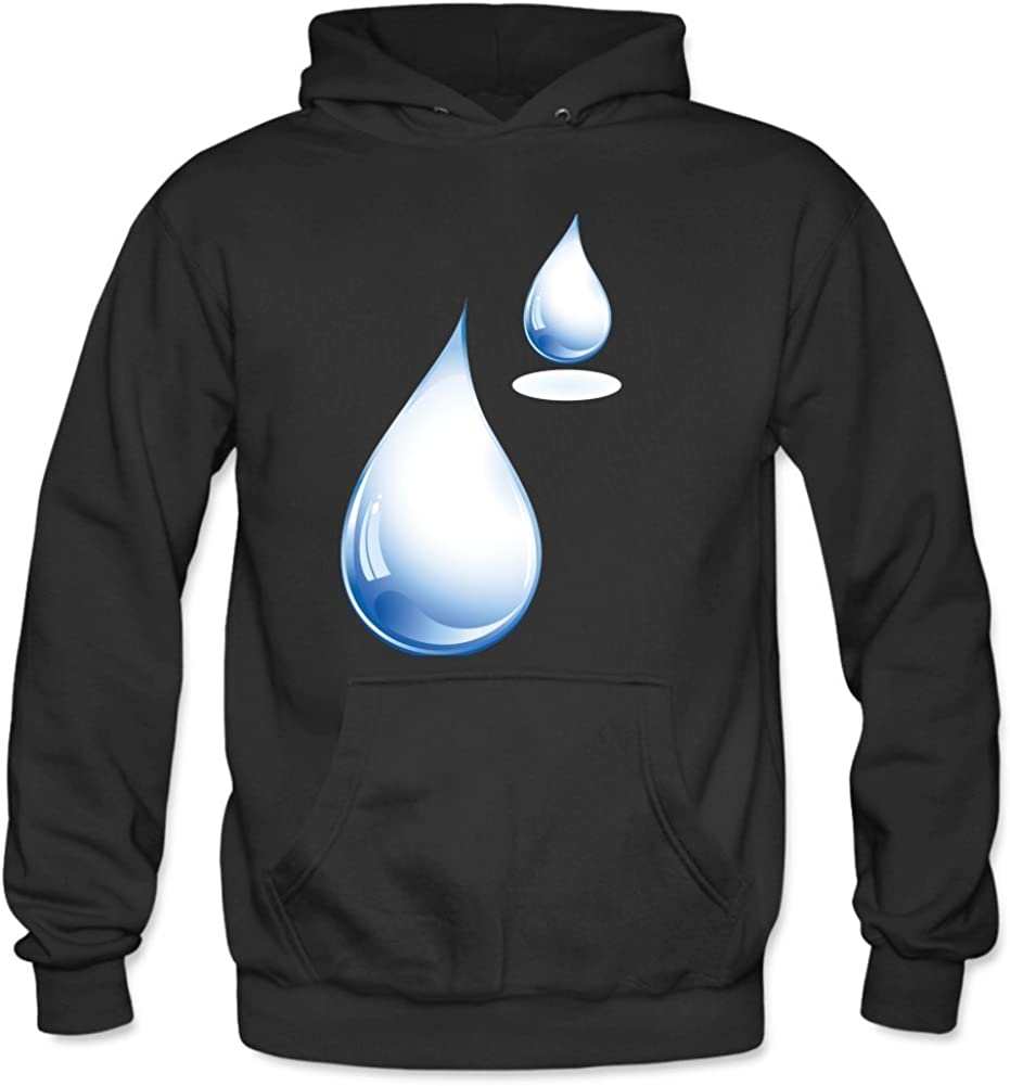 Men s Water Droplets Long Sleeved Cotton Thin Hooded Sweatshirt S Black