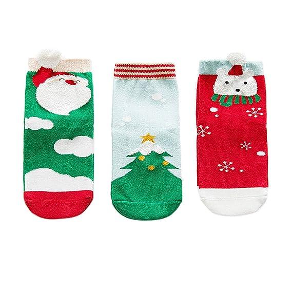 Tandou 3 pares Calcetines Algodón Cómodo Para Niño Niña Navidad: Amazon.es: Ropa y accesorios