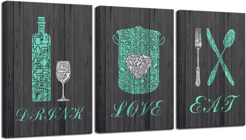 LevvArts - 3 Piece Kitchen Wall Art Teal Fork Knife Spoon Wine Glass Pot Poster Painting Eat Drink Love Kitchen Wall Pictures Set Modern Dining Room Decor Framed Ready to Hang