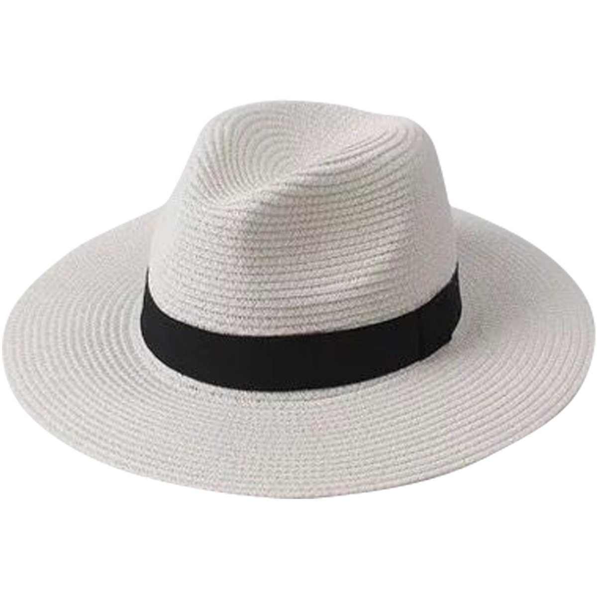 Lanzom Men Wide Brim Straw Foldable Roll up Hat Fedora Summer Beach Sun Hat UPF50+ (Style A-White, One Size)