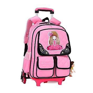 BAG Mochila Trolley para niños Mochilas Escolares para niñas Seis Ruedas Mochilas de Nylon extraíbles para Adolescentes,Pink: Amazon.es: Deportes y aire ...