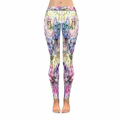 4bb575c6fd906 INTERESTPRINT Bright Watercolor Hydrangea Rose Flowers Stretchy Capri  Leggings Skinny Yoga Pants 4XL