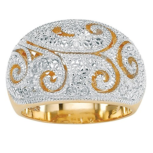 18k Yellow Gold Dome - White Diamond Accent 18k Yellow Gold over Sterling Silver Filigree Dome Ring Size 9