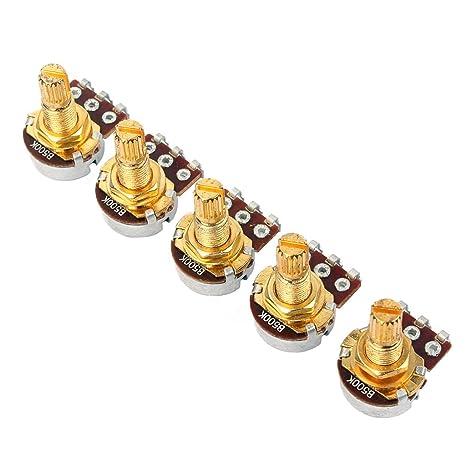 JOYKK 5 Piezas B500k Potenciómetro Splined Pot Guitarra eléctrica Bajo Efecto Tono Volumen Partes - Oro