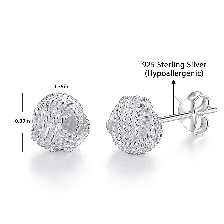 Damen-Ohrstecker Knoten Kugeln 925 Sterling Silber 10 mm Ohrringe