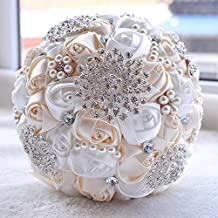 Wedding Bouquets for Bride, Amoleya 7.8 Inch Handmade Bridal Bouquet Bridesmaid Bouquet of Satin Flower Roses with Bling Rhinestones(Ivory+White)