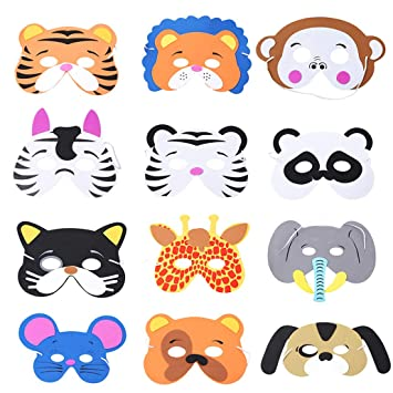 Nyaole Tiermasken 12 Stucke Cartoon Masken Dschungel Tier Schaum