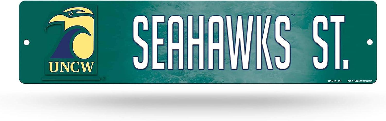 NCAA Rico Industries 16-Inch Plastic Street Sign Décor, North Carolina Wilmington Seahawks