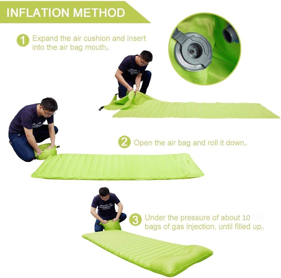 Green, Blue Inflatable Sleeping Pad SKL Portable Ultralight TPU Inflatable Sleeping Bed Waterproof Lazy Bed With Pillow For Travlling Pool Camping Beach Party Park Backyard Inflatable Mat