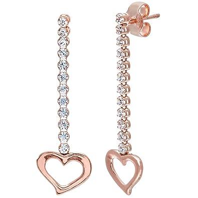 9CT Chapado en Oro Rosa 925 ley SILVER SWAROVSKI Cristal Corazón Colgante