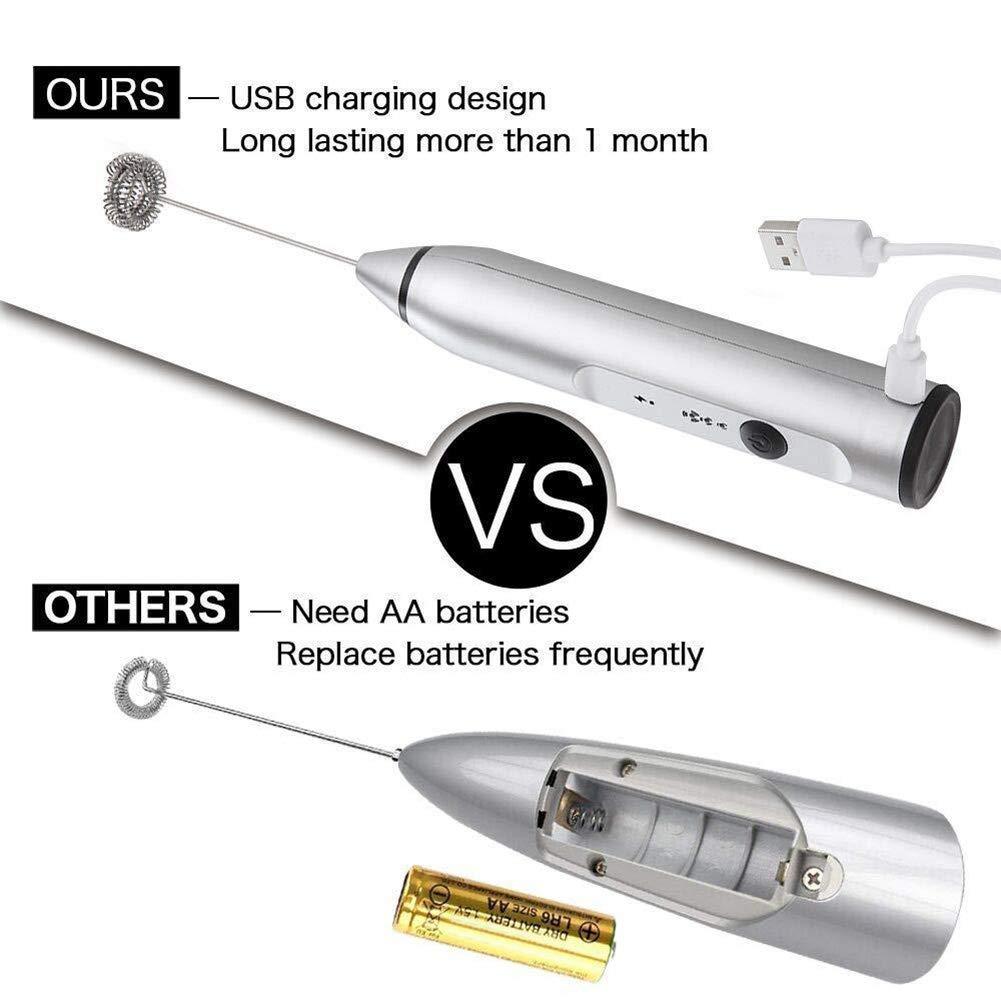 Argent Asseny Portable /Électrique Chargement USB Batteur /à Oeufs Mousseur de Lait Boisson Mixeur pour Caf/é