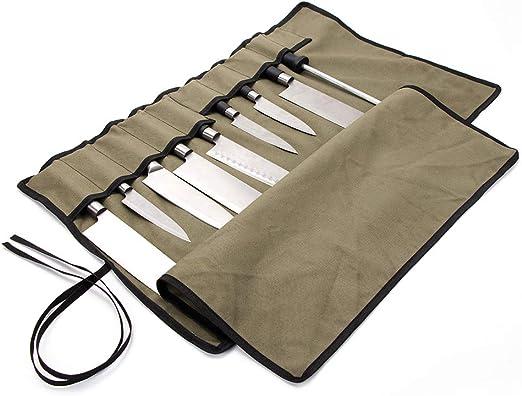 QEES Chefs Knife Roll 10 compartimentos, estuche impermeable para cuchillos de lona, bolsa multifunción para herramientas, color verde militar: Amazon.es: Hogar