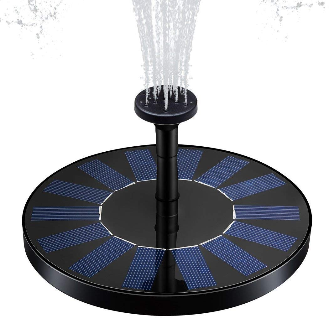 zqasales Solar Fountain, Solar Powered Bird Bath Fountain Pump 1.4W Solar Panel Kit Water Pump,Outdoor Watering Submersible Pump for Pond, Pool, Garden, Fish Tank, Aquarium (Round Fountain Pump) by zqasales