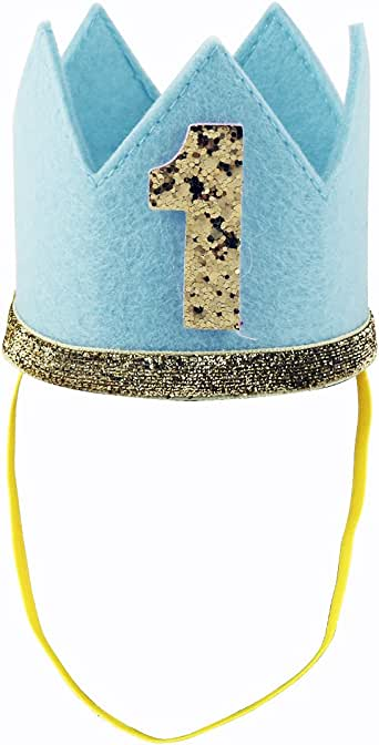 iiniim Baby Girls Boys 1st / First Birthday Crown Party Hat Headband Head wear Accessories