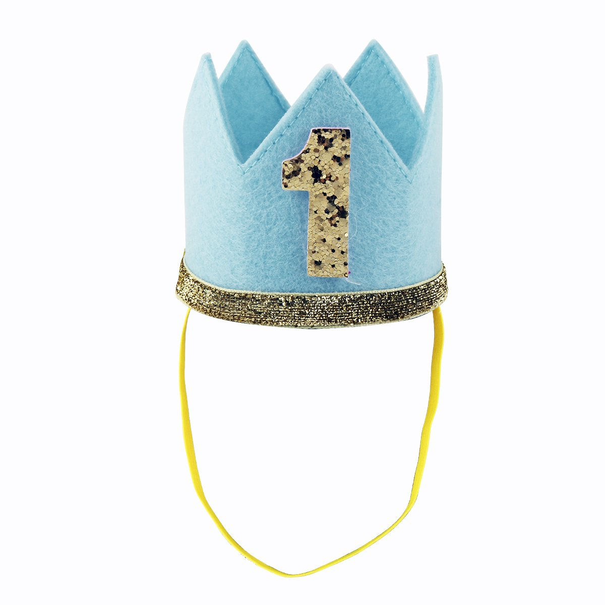 iiniim Baby Girls Boys First /1st Birthday Party Hat Little Prince Crown Headband Head wear Accessories Blue Number 1 One Size