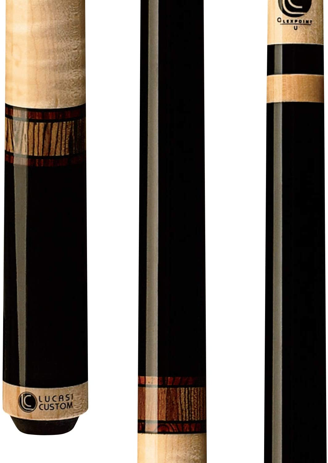 Lucasiカスタムミスティックブラックand Curly Maple Pool Cue with Cocobola and Snakewood Bandedリング  20.5-Ounce