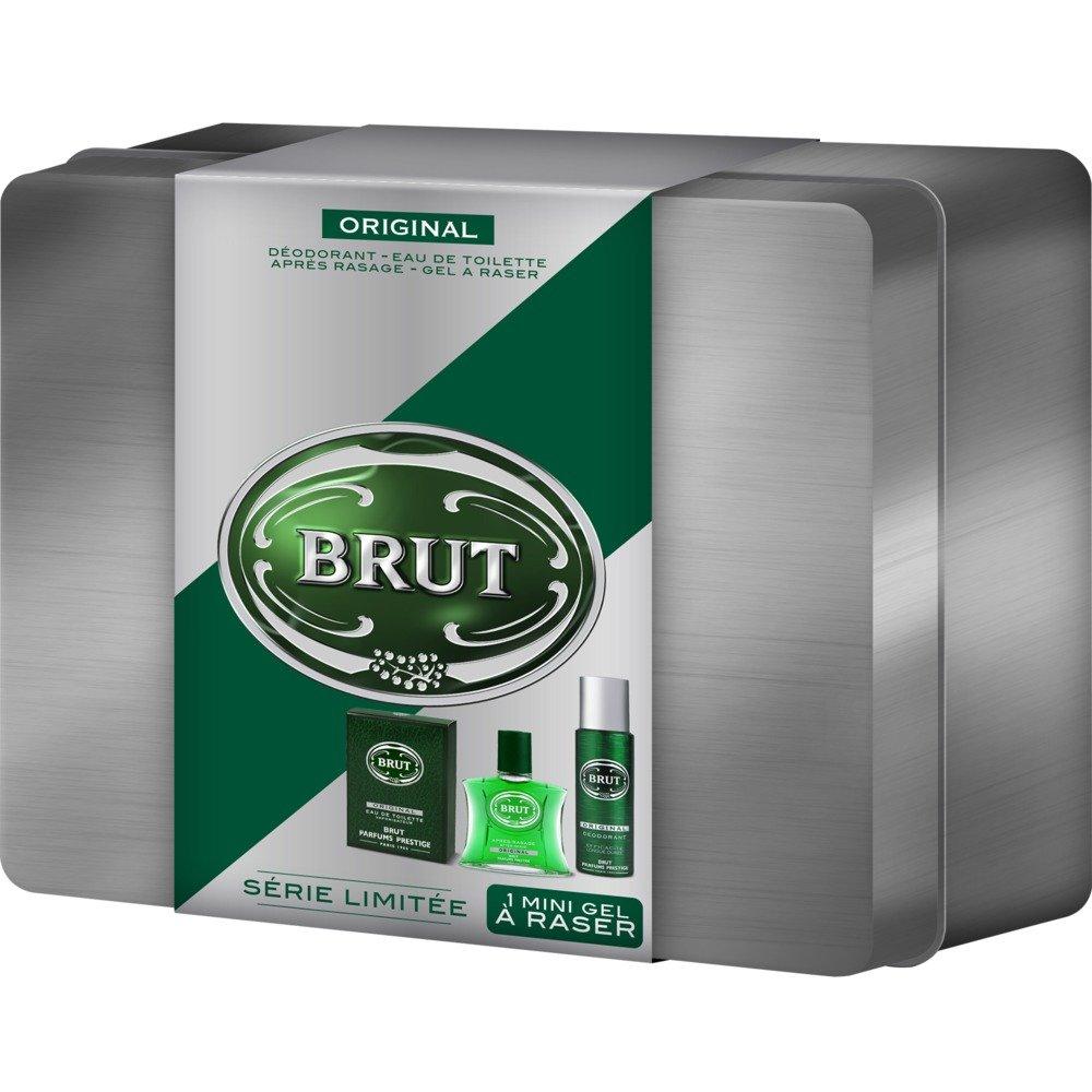 Brut Coffret cadeau homme Original - Eau de toilette + déodorant + gel à raser + après rasage + boite acier Coffret Noel