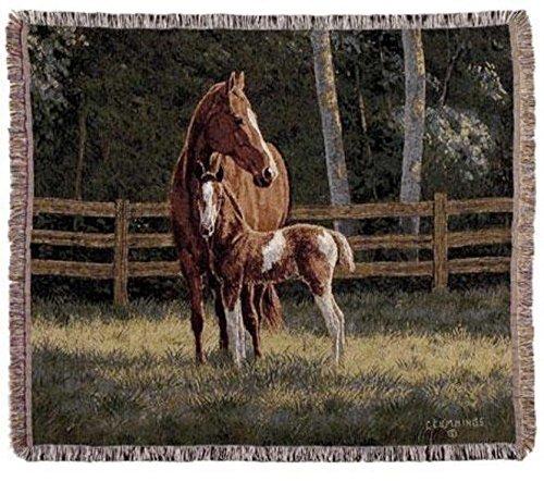 単にホームWesternタペストリーコットンスロー毛布Josie Mare and Foal B0160AULE8