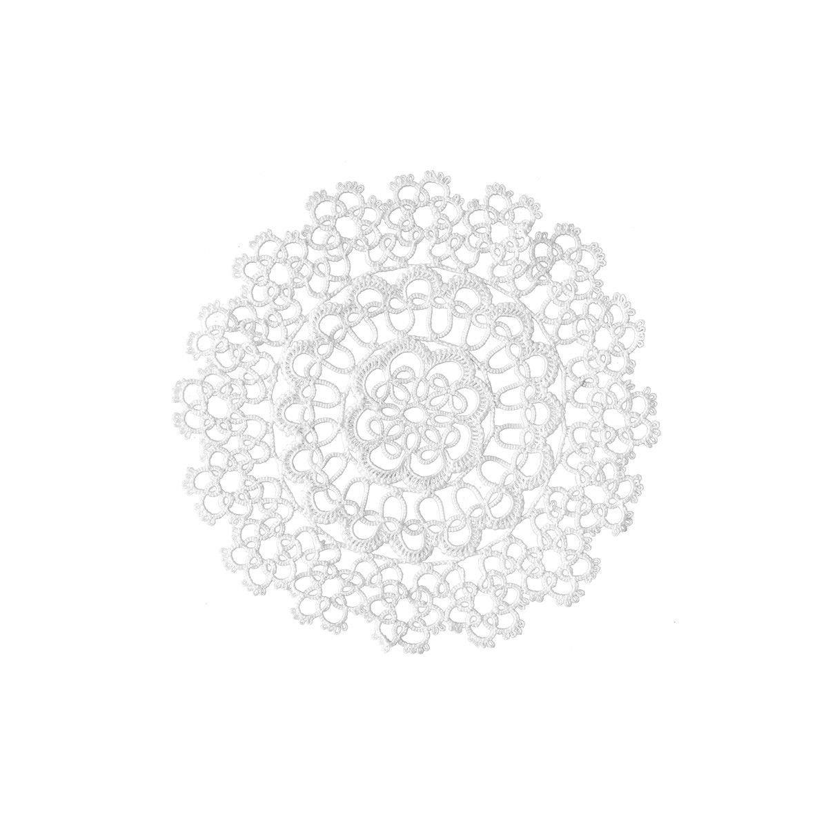 Set 12 centrini/sottopiatti in merletto chiacchierino 20 cm - Bianco S033 CARILLO