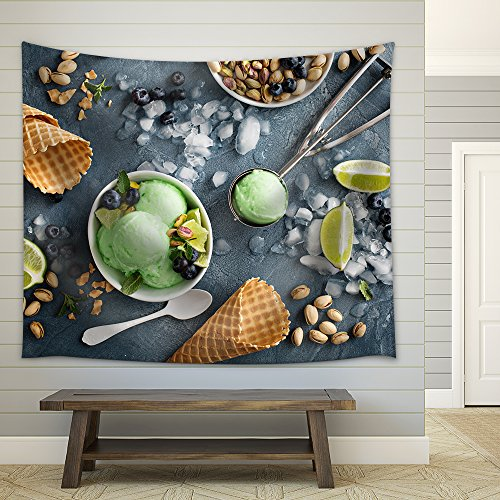 wall26 - Green Refreshing Lime Pistachio Ice Cream in White Bowl Overhead Shot - Fabric Wall Tapestry Home Decor - 51x60 inches (Lemon Lime Shots Ice Cream)
