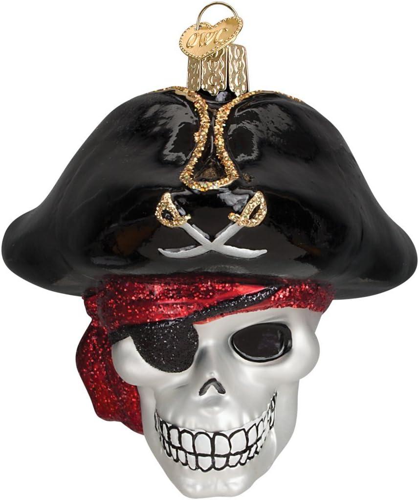 Old World Christmas Skull and Crossbones Halloween Glass Ornament