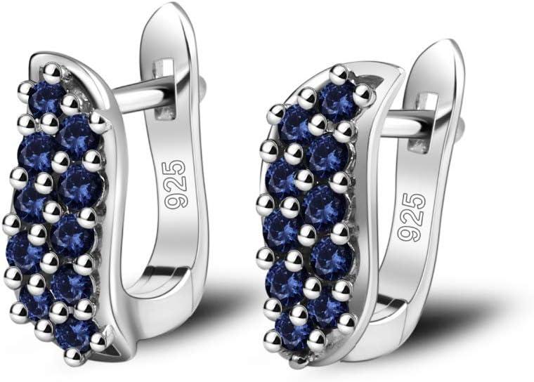 AdronQ Pendientes De Piedras Preciosas De Zafiro Azul Natural 925 Pendientes Vintage para Mujeres Finas