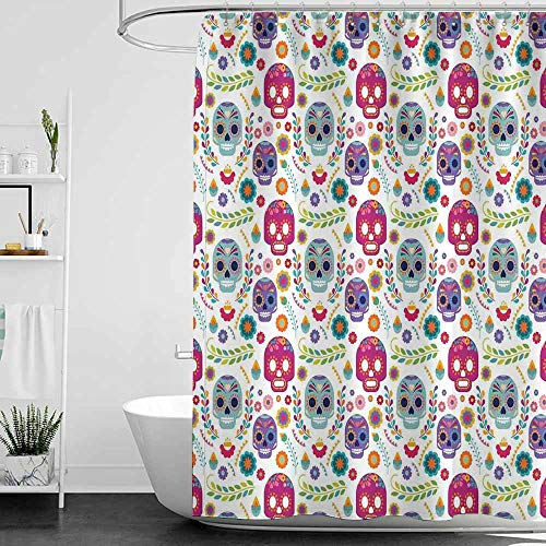 - SKDSArts Shower Curtains Pink and Gray Mexican Decorations,Different Mexico Latin Sugar Skull with Flower and Branch Figures Artwork,Multi,W36 x L72,Shower Curtain for clawfoot tub