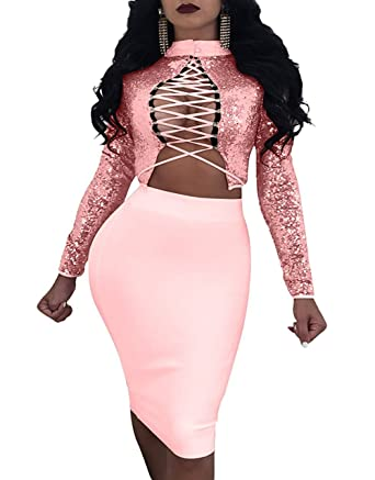 1d1f5ff03 Womens Lace Up Backless Crop Top Midi Skirt Outfit Two Piece Bodycon Dress  Pink S