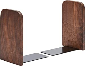 Pandapark Wood Bookends,Pack of 1 Pair,Non-Skid,Black Walnut,Office Book Stand (Black Walnut-A)