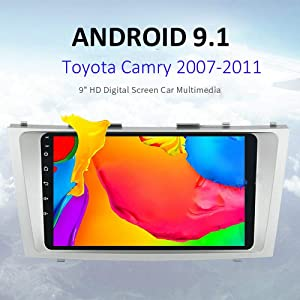 Camry Android 9.1 9 Inch Touch Screen Car Multimedia Radio GPS Navigation in-Dash Car Stereo MP5 Player Auto-Radio WiFi Bluetooth USB OBD for 07-11 Camry (Camry 2G RAM+16G ROM)