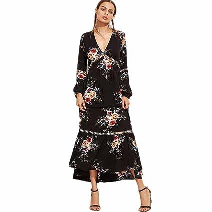 Vestido largo Amlaiworld Mujeres Otoño Boho Floral Largo Maxi playa vestido de fiesta (Tamaño: