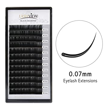 e579873d572 Lashview 3D Volume Eyelash Extensions Individual Semi-permanent False Eye  Lashes 0.07 C 12mm Black