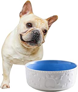 Jemirry Ceramic Dog Bowls, 6 Inch Pet Food Bowl Dog Dish Cat Bowl for Bull Dog Kitten Wet Food Dry Food Water Bowl, Blue+ White