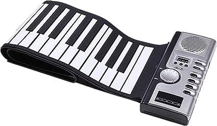 Rollo de la mano del piano Plegable de silicona teclado ...
