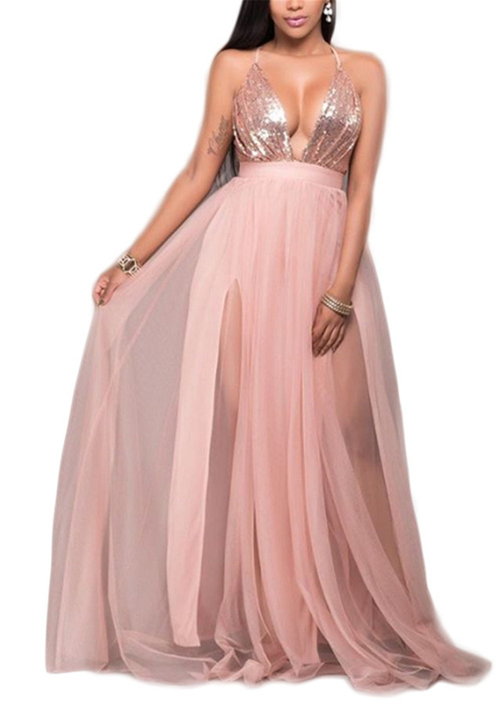 Womens Sexy Deep V Strap Backless Sequins Bodycon Party Club High Split Dress (L, pink)