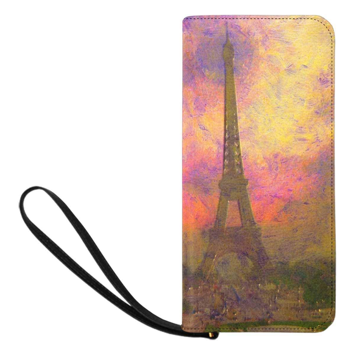 InterestPrint Womens Eiffel Tower with Autumn Leaves in Paris Clutch Purse Card Holder Organizer Ladies Purse