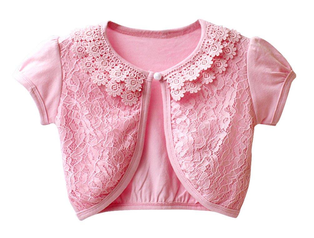 BogiWell Little Girls' Lace Bolero Cardigan Shrug Short Sleeve Pink(US 6-7T,Tag 140)
