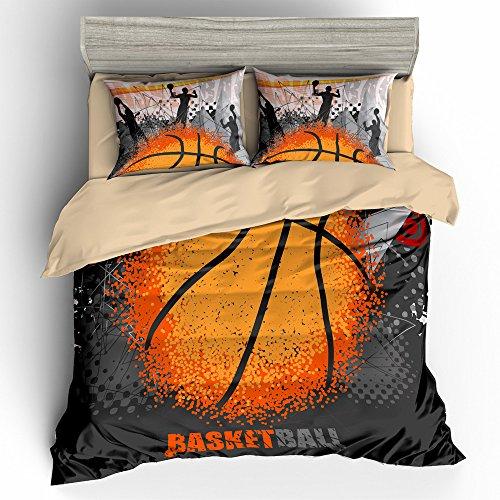 BOMCOM 3D Digital Printing Basketball Grunge Background Abstract Ball 3-Piece Duvet Cover Sets 100% Microfiber(twin, Abstract Basketball) - Basketball Bedding