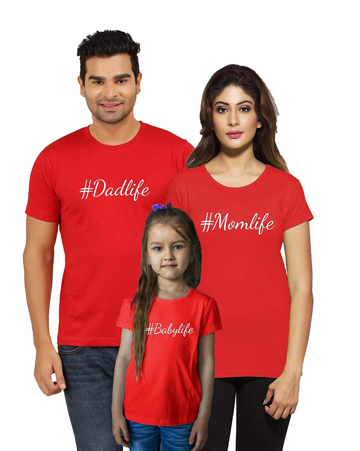 f8ffa0750 Jopo Matching Family T-shirt for Mom, Dad and Kids (Red) Set of 3:  Amazon.in: Clothing & Accessories