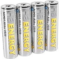 Heitech Mignon AA-batterij, 2550 mAh, 1,2 V, NiMH, TÜV-getest, 4 stuks, oplaadbare batterijen met lage zelfontlading…
