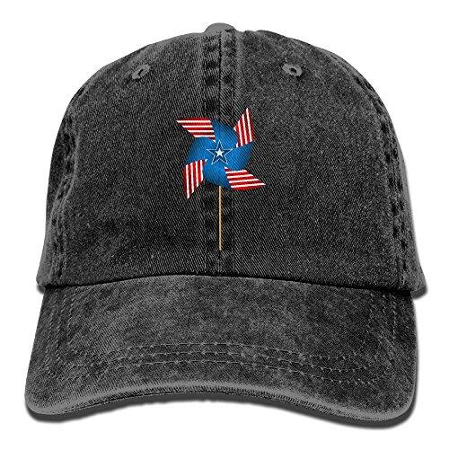 (SFT Unisex Flag of USA Pinwheel Dyed Washed Denim Cotton Baseball Cap Hat Black)