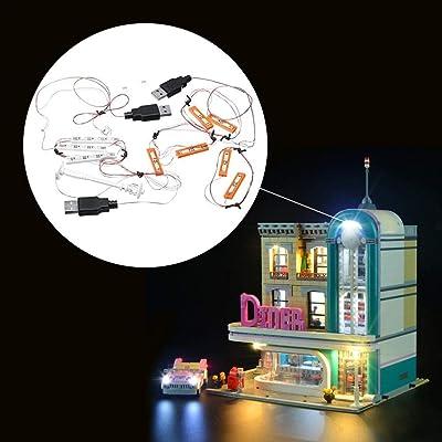 Conjunto de luces LED Lightailing para Lego 10260 Downtown Diner Ladrillos de construcción Juguetes Juego de luces Iluminación de LED Bloques luminosos Accesorios (modelo no incluido): Bebé