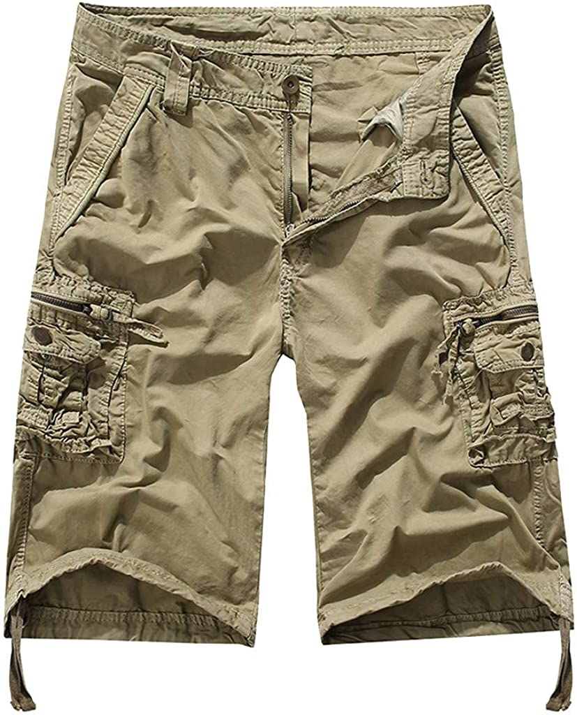 XQXCL Mens Shorts Summer Solid Color Loose Casual Multi-Pocket Tooling Pants(Multi-Code Multicolor!)