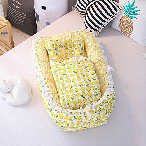 - WINLIFE Baby Bassinet for Bed Portable Baby Lounger for Newborn,100% Cotton Portable Crib, Lemon